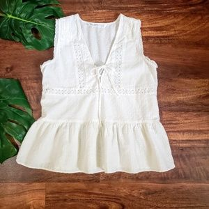 Zara Basic Eyelet Top